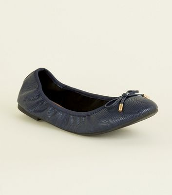 Wide Fit Navy Faux Croc Elasticated Ballet Pumps
