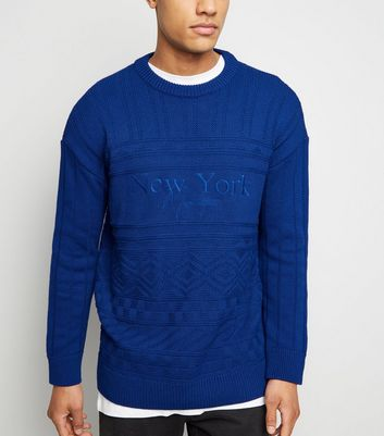 Bright Blue USA Slogan Cable Knit Jumper