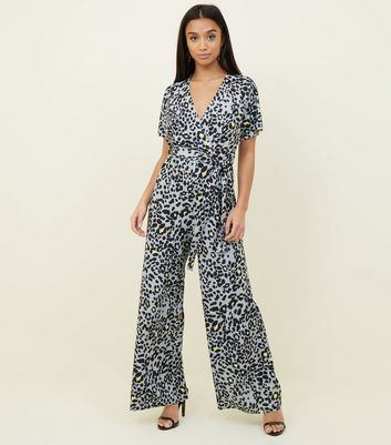 Petite Light Grey Leopard Print Wrap Jumpsuit