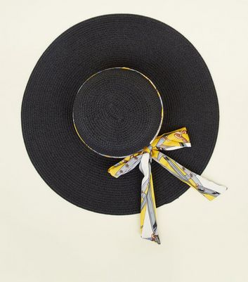 Yellow Chain Print Ribbon Floppy Hat