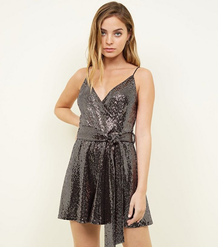 fd916ddc3f Petite Bronze Sequin Wrap Front Playsuit