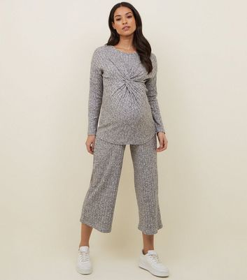 Maternity Pale Grey Ribbed Culottes
