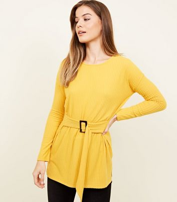 Mustard Brushed Rib Buckle Waist Tunic Top