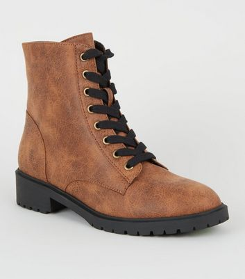 Tan Oiled Leather-Look Lace-Up Boots