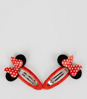 Red Disney Minnie Mouse Snap Clips