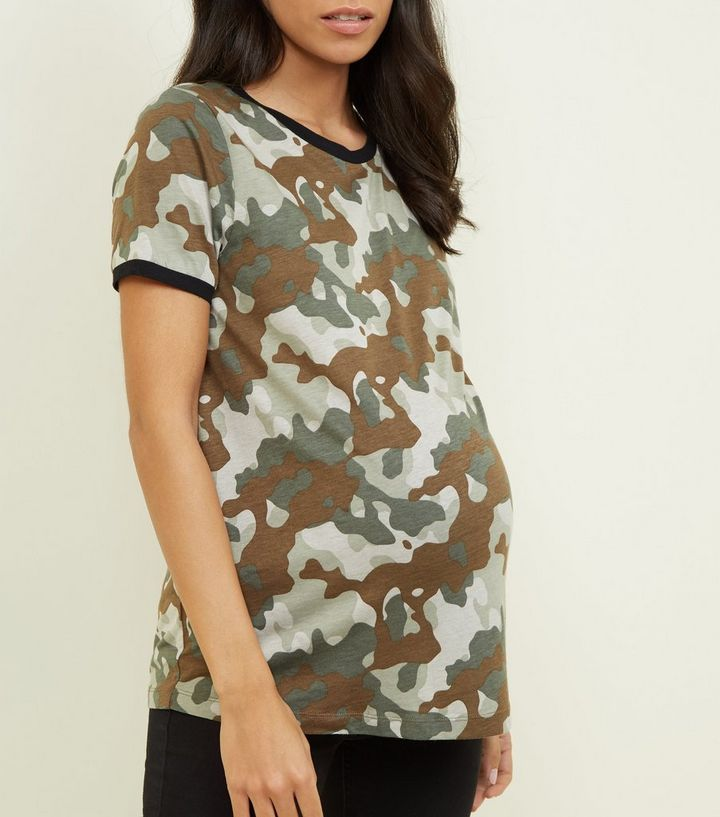 22e6d17741257 Maternity Green Camo T-Shirt | New Look