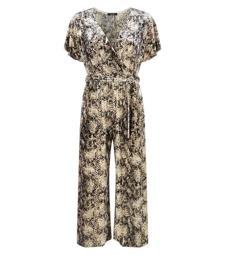 071418683811 ... Petite Brown Velvet Snake Print Wrap Jumpsuit. ×. ×. ×. Shop the look