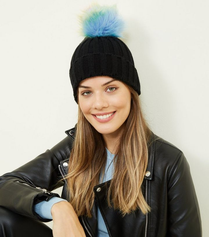 8d68af079 Black Rainbow Pom Pom Bobble Hat Add to Saved Items Remove from Saved Items