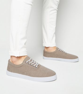 Stone Canvas Lace Up Plimsolls