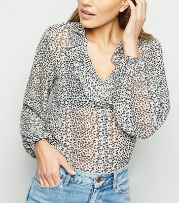 Light Grey Leopard Print Frill Shirt