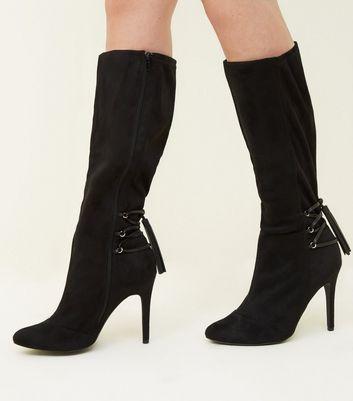 Knie hohe Stiefel mit Schnürung in weiter Passform EEE Fit Schwarz