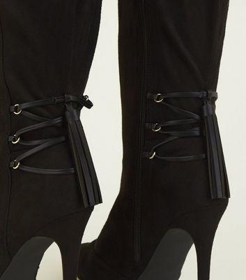 Wide Fit – Schwarze, kniehohe Stiefel zum Schnüren mit Stiletto Absatz Für später speichern Von gespeicherten Artikeln entfernen