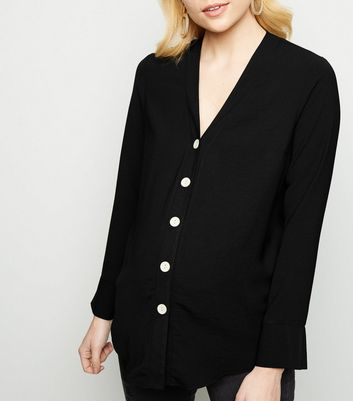 Maternity Black Collarless Nursing Shirt