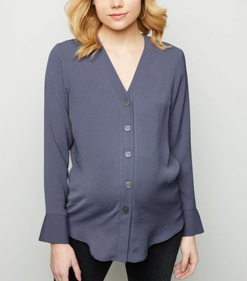 Maternity Dark Grey Collarless Nursing Shirt