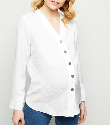 Maternity Off White Collarless Nursing Shirt