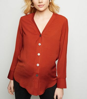 Maternity Orange Collarless Nursing Shirt