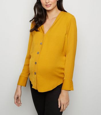 Maternity Yellow Collarless Nursing Shirt