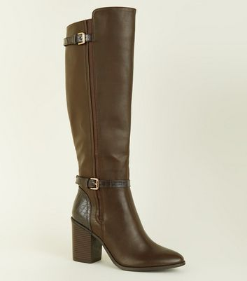 Rust Faux Croc Detailing Leather-Look High Boot