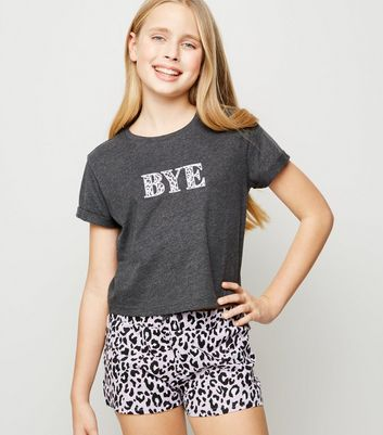 Girls Purple Bye Leopard Print Pyjama Set