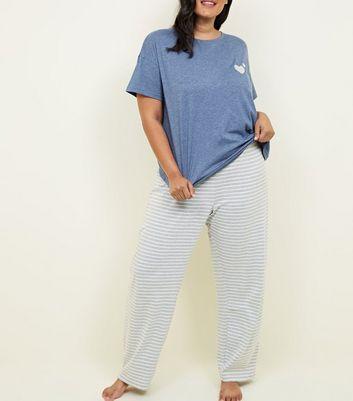 Curves Pale Blue Stripe Joggers Pyjama Set by New Look
