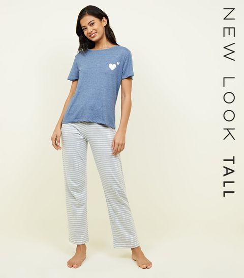 4204128606 ... Tall Blue Heart and Stripe Pyjama Set ...