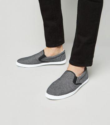 Black Slip On Plimsolls | New Look