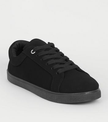 Black Suedette Eyelet Lace Up Trainers
