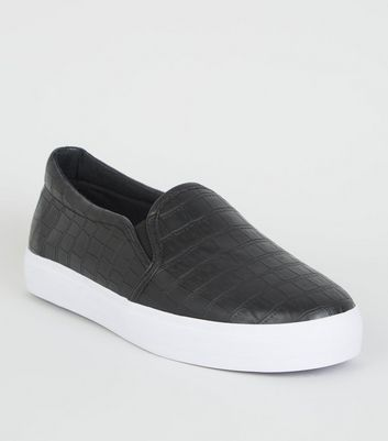 Black Faux Croc Slip On Flatform Trainers