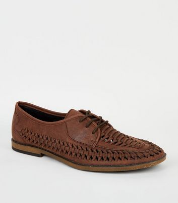 Dark Brown Leather-Look Woven Shoes