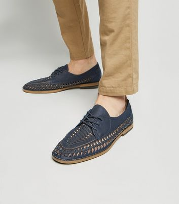 Navy Leather-Look Woven Lace Up Shoes