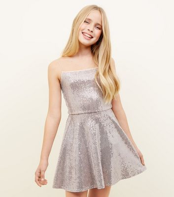Girls Pale Pink Mirrored Sequin Skater Dress