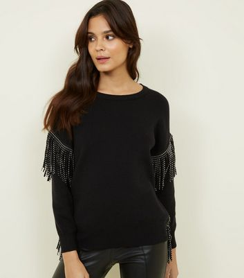 Cameo Rose Black Studded Tassel Trim Jumper