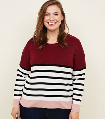 Curves Red Colour Block Stripe Jumper