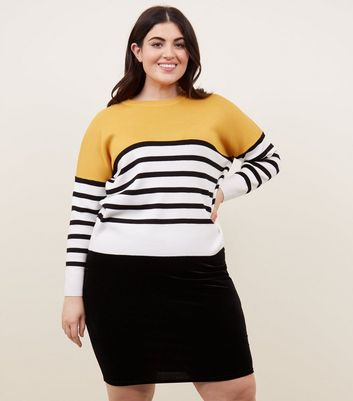 Curves Yellow Colour Block Stripe Jumper