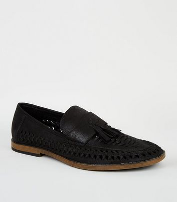 Black Leather-Look Cut Out Tassel Front Loafers