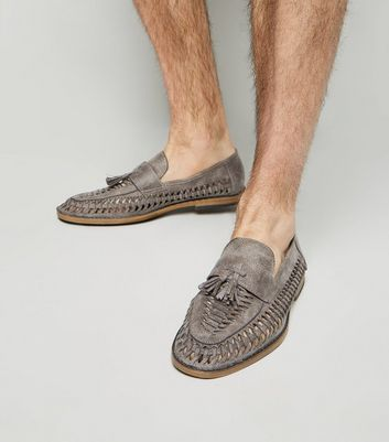 Grey Woven Tassel Front Loafers
