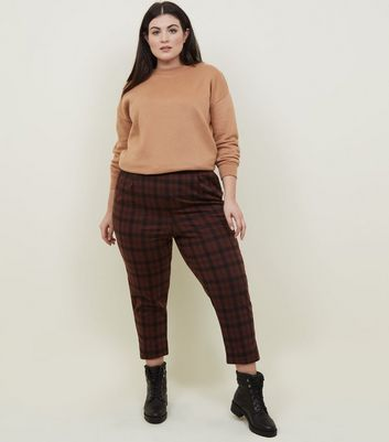 Curves Brown Check Tapered Trousers