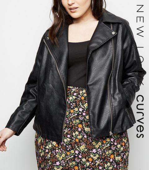 4d6a8dbe6a87e0 ... Curves Black Leather-Look Biker Jacket ...