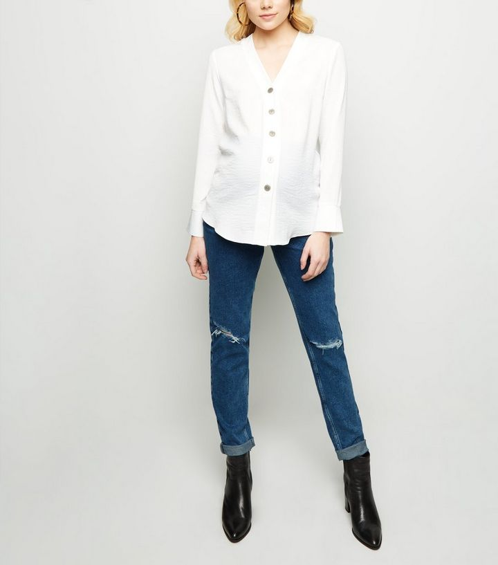 d6fe52aefaaab Maternity Blue Ripped Slim Over Bump Mom Jeans | New Look