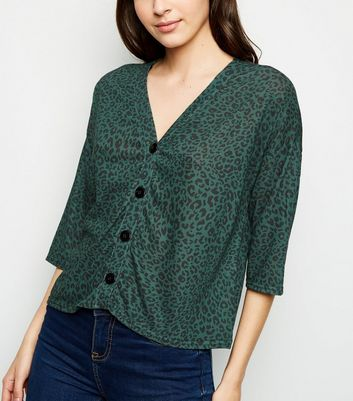 Green Leopard Print Button Front Top