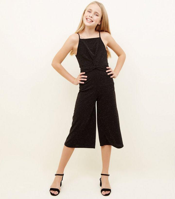 6d910ee7ae64 Girls Black Glitter Twist Front Jumpsuit