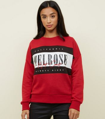 Petite Red Melrose Colour Block Sweatshirt