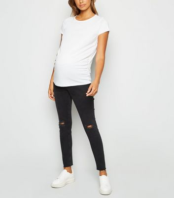 Maternity Black Ripped Knee Under Bump Skinny Jeans