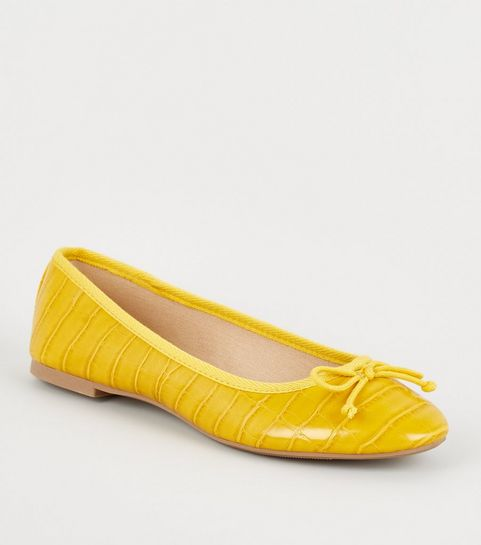 89c455300ac2 ... Yellow Faux Croc Bow Ballet Pumps ...