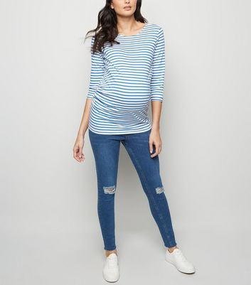 Maternity Blue Ripped Knee Under Bump Skinny Jeans