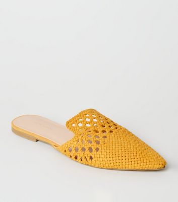 Mustard Woven Suedette Mules by New Look