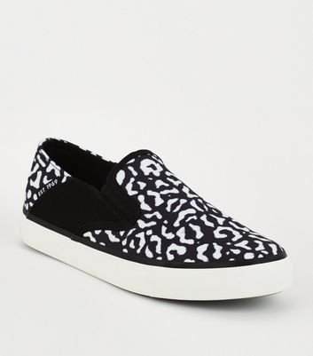 Black Leopard Print Slip On Trainers