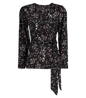 Apricot Black Ditsy Tulip Print Wrap Shirt New Look