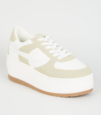 White Colour Block Chunky Flatform Trainers