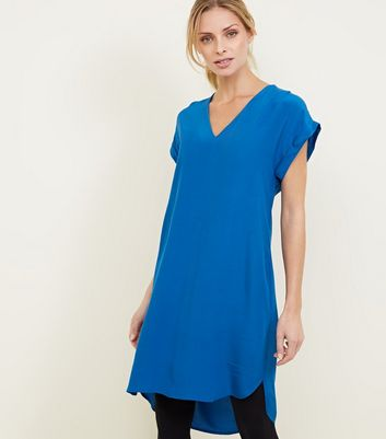 Apricot Blue V Neck Dipped Hem Dress